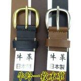 日本製30mm牛吟一枚革ベルト 無地 シルバー系美錠