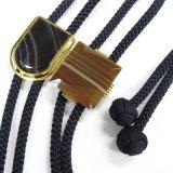 日本製 ループタイ ボロータイ ポーラータイ 正絹紐 茶縞メノー