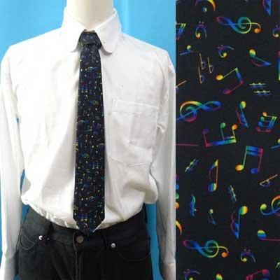 画像1: 日本製ネクタイ オリジナルプリント レインボー音符柄 メンズ