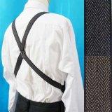 日本縫製 25mm ホルスター型サスペンダー 合皮 ゲバルト 杢へリンボン