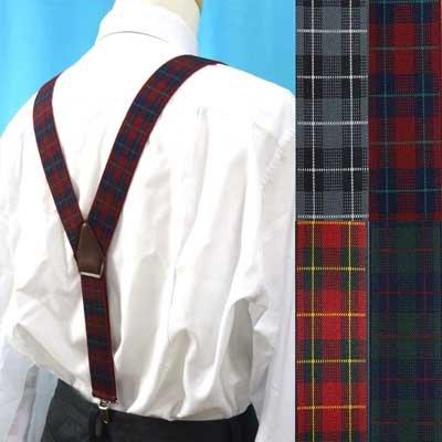 画像1: 日本縫製 35mm Y型サスペンダー 合皮 ゲバルト タータンチェック