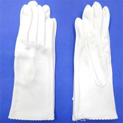 画像2: 婦人用白手袋 ナイロン ハマグリ加工 中長 No.930