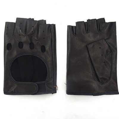 画像2: 日本製指切り手袋 本革 穴あき