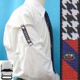 日本製 裄吊り シャツガーター 袖丈調整 ゴム CR ハンドプリント 千鳥 クレスト