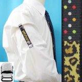 日本製 裄吊り シャツガーター 袖丈調整 ゴム CR ハンドプリント 水玉 ヒョウ