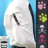 日本製 裄吊り シャツガーター 袖丈調整 ゴム CR ハンドプリント 肉球 どくろ