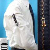 日本製 裄吊り シャツガーター 袖丈調整 ゴム CR ハンドプリント ジッパー