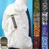 日本製 裄吊り シャツガーター 袖丈調整 ゴム AG ハンドプリント ペイズリー
