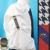 日本製 裄吊り シャツガーター 袖丈調整 ゴム AG ハンドプリント 千鳥 クレスト