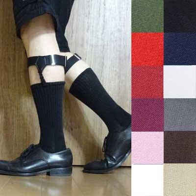 画像1: 日本製ソックスガーター レッグガーター 靴下留め 合皮 無地 4125-002