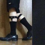 日本製ソックスガーター レッグガーター 靴下留め 本革 ゴム裏ニット マンボ 4125-401