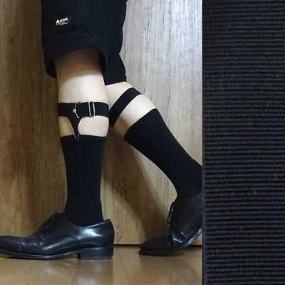 画像1: 日本製ソックスガーター レッグガーター 靴下留め 本革 ゴム裏ニット マンボ 4125-401