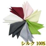 日本製 ポケットチーフ ハンカチーフ 正絹 シルク 無地