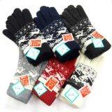 日本製婦人ニット手袋 ラム・ウール 二重手袋 折り返し 鹿柄 No.2562