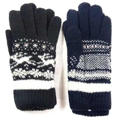 画像2: 日本製婦人ニット手袋 ラム・ウール 二重手袋 折り返し 鹿柄 No.2562