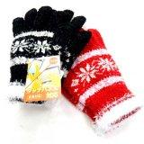 日本製婦人ニット手袋 マシュマロ 雪柄 タッチパネル対応 No.2546