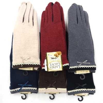 画像1: 婦人ジャージ手袋 アンゴラ・ウール レースリボン 指裏コンビ No.1335
