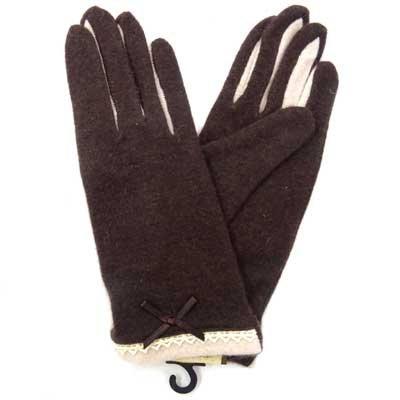 画像2: 婦人ジャージ手袋 アンゴラ・ウール レースリボン 指裏コンビ No.1335