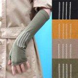 日本製婦人ジャージ手袋 指無し 天然素材使用 中長 デザインミシン