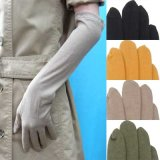 日本製婦人ジャージ手袋 天然素材使用 ロング 一本線 裾ライン