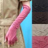 日本製婦人ジャージ手袋 指切り 天然素材使用 ロング シャーリングリボン