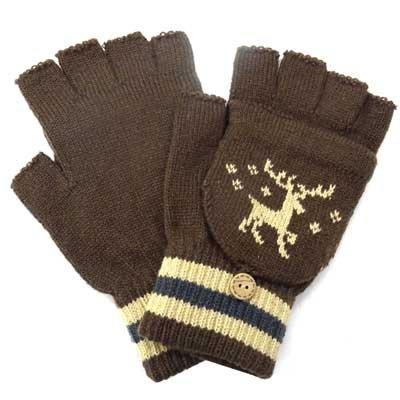 画像2: 台湾製紳士ニット手袋 指切りキャップ付 アクリル 鹿柄
